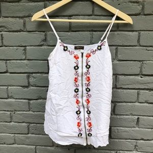 Sugarlips [Anthro] White Floral Embroidered Tank S